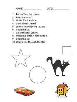 Follow Written Directions Worksheets ABLLS-R Q16