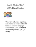 ABLLS Reading goals, word to word matching, word to picture matching