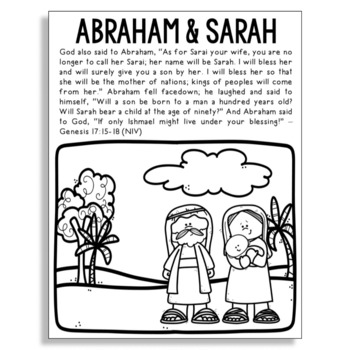 abraham and sarah bible story coloring page with verses