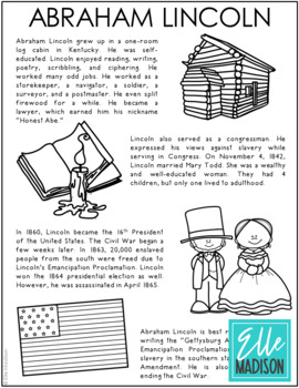 Abraham Lincoln Coloring Worksheets Teaching Resources Tpt