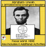 ABRAHAM LINCOLN Differentiated Emergent Readers Sight Word HERE