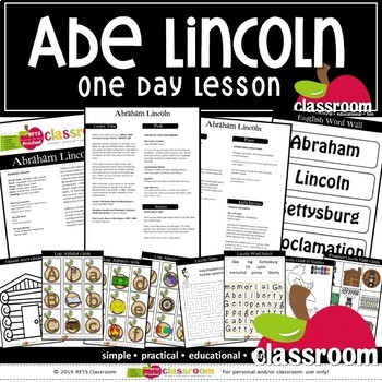 ABRAHAM LINCOLN Preschool PreK Kindergarten 1-Day Lesson Plan