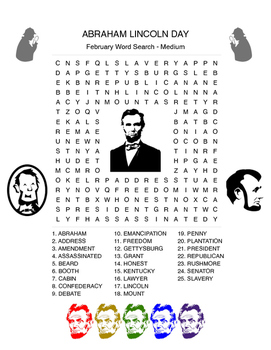 ABRAHAM LINCOLN'S Birthday Word Search - US History - Early Finisher