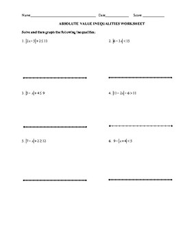ABSOLUTE VALUE INEQUALITIES WORKSHEET by Miss J's Tutoring | TpT