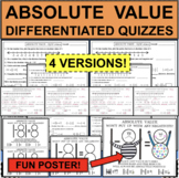 ABSOLUTE VALUE QUIZZES 4 Differentiated Versions Plus FUN ACTIVITY!