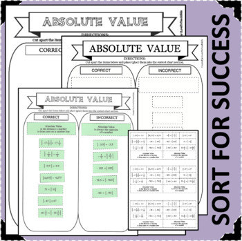 ABSOLUTE VALUE in MATH SORT FOR SUCCESS Sorting Activity