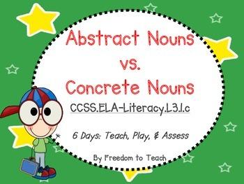 ABSTRACT NOUNS ~ Teach, Play, & Assess ~ 6 Days of Plans!