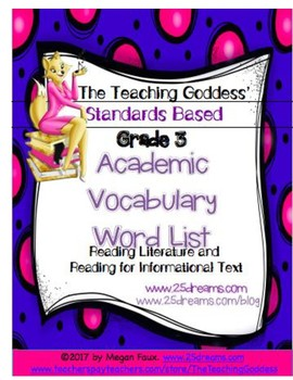 ACADEMIC VOCABULARY WORD LIST FOR  READING STANDARDS GRADE 3