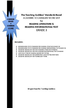 GRADE 3 ACADEMIC VOCABULARY WORD LIST FOR  READING STANDARDS