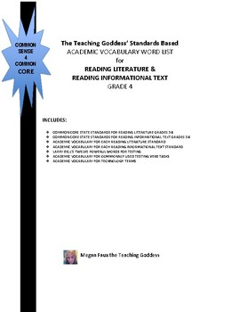 ACADEMIC VOCABULARY WORD LIST FOR  READING STANDARDS GRADE 4
