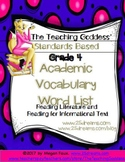 GRADE 4 ACADEMIC VOCABULARY WORD LIST FOR  READING STANDARDS