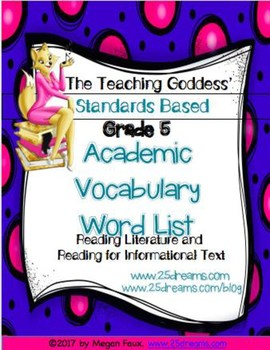 ACADEMIC VOCABULARY WORD LIST FOR  READING STANDARDS GRADE 5