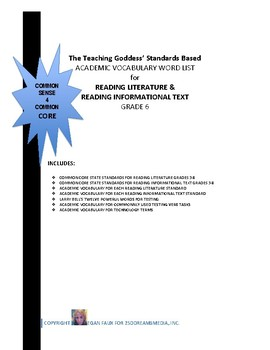 ACADEMIC VOCABULARY WORD LIST FOR  READING STANDARDS GRADE 6
