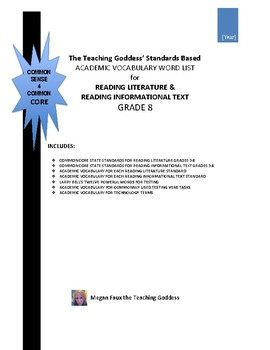 ACADEMIC VOCABULARY WORD LIST FOR  READING STANDARDS GRADE 8