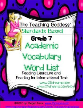 ACADEMIC VOCABULARY WORD LIST FOR  READING STANDARDS GRADE 7