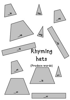 ACARA (ACELA1439) Witch Hats Rhyming Words F-1 Cut & Paste Tasks & Game 2 Print