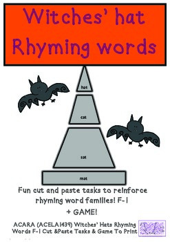 ACARA (ACELA1439) Witch Hats Rhyming Words F-1 Cut & Paste