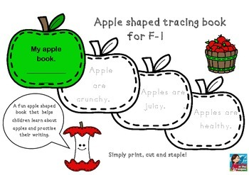ACARA ACPPS006 Apple shaped tracing book F-1 Fruit Health Literacy Fun
