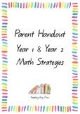 ACARA C2C  Year 1 & 2 Math Parent Handouts containing all