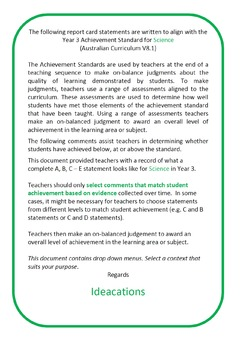 Australian Curriculum Report Card Comments Year 3 Science