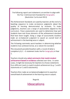 Australian Curriculum Report Comments Year 1 Geography