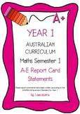 Australian Curriculum Report Comments Year 1 Maths - Semester 1