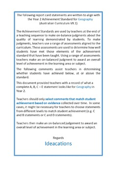 Australian Curriculum Report Comments Year 2 Geography