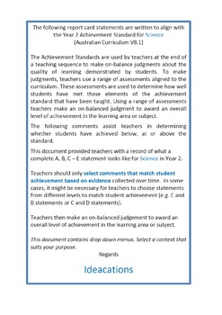 Australian Curriculum Report Comments Year 2 Science