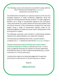 Australian Curriculum Report Comments Year 3 Geography