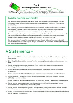 Australian Curriculum Report Comments Year 3 History