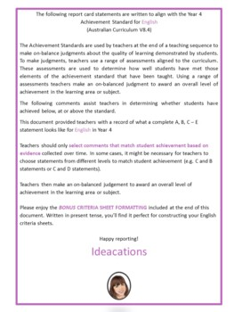 Australian Curriculum Report Comments Year 4 English Semester 1