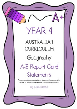 Australian Curriculum Report Comments Year 4 Geography