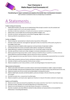 Australian Curriculum Report Comments Year 4 Maths Semester 1
