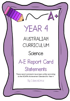 Australian Curriculum Report Comments Year 4 Science