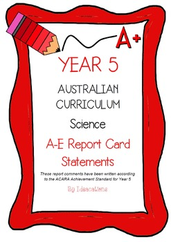 Australian Curriculum Report Comments Year 5 Science