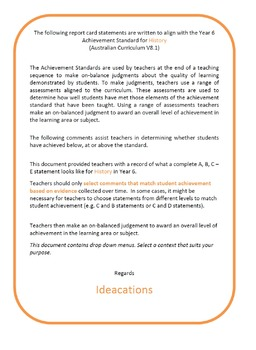 Australian Curriculum Report Comments Year 6 History
