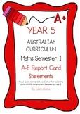 Australian Curriculum Report Comments Year 5 Maths Semester 1
