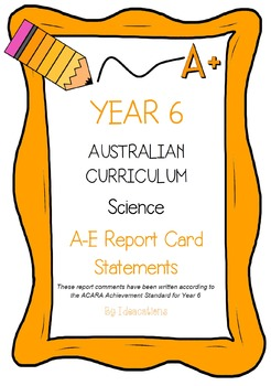 Australian Curriculum Report Comments Year 6 Science