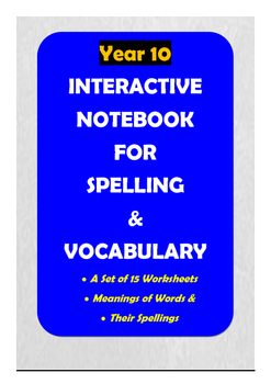 ACARA Year 10 - Interactive Notebook for Spelling and Vocabulary