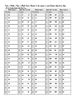 ACARA, Year 2, Term 3, 10 Week Daily Computation Warm-up Math Fact Booklet.