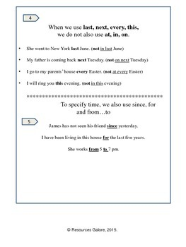 NAPLAN Year 3 Grammar - Prepositions of Time