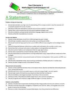 Australian Curriculum Report Comments Year 3 Maths Semester 1