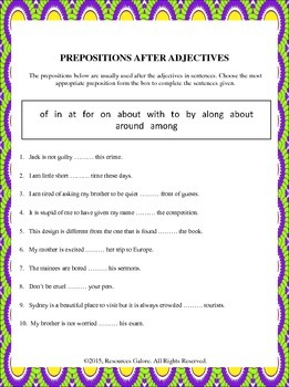 NAPLAN: Year 3 - Prepositions after Adjectives
