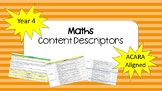 ACARA Year 4 Maths Content Descriptors