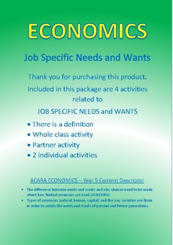 ACARA Year 5 Economics Job Specific Needs and Wants