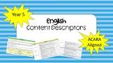 ACARA Year 5 English Content Descriptors