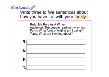 ACCESS 1.4 Paragraph Writing Prompt ELL ESL First Second Grade RAFT Prewriting