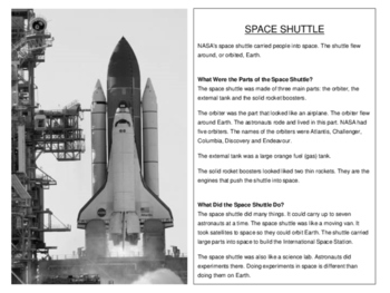 Compare and Contrast Space Shuttles & Rockets - ACCESS Style Writing Practice