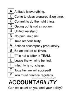 ACCOUNTABILITY - Work Ethic Acronym