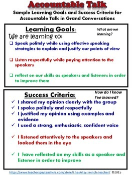 ACCOUNTABLE TALK - For Grand Conversations: posters, vocab, learning goal etc.